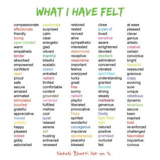 """""""What I have Felt"""", by Nataki Bhatti. As a part of Step Four in a 12 Step Recovery Program, I had to look up different types of feelings. I realized I feel much more good feelings than I realized."""