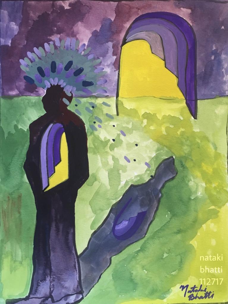 """Going Through"" by Nataki McNeal Bhatti. Gauche on paper, 12 "" x 17""."